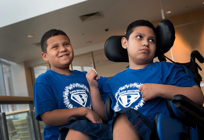 Brian and Brandon, who have ALD, at a recent visit to Boston Children's.