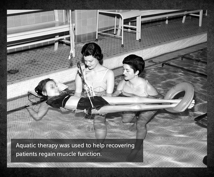 Aquatic therapy was used to help recovering patients regain muscle function.