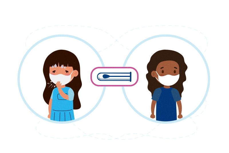 illustration of two child with/without COVID-19 symptoms and testing swab