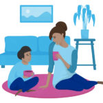 an illustration of a mom and son talking