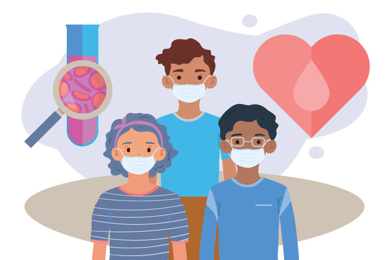 An image of blood in a tube, children with masks, and a heart