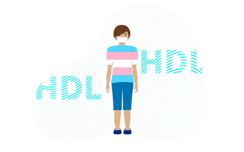 illustration of person wearing trans shirt with HDL above and below
